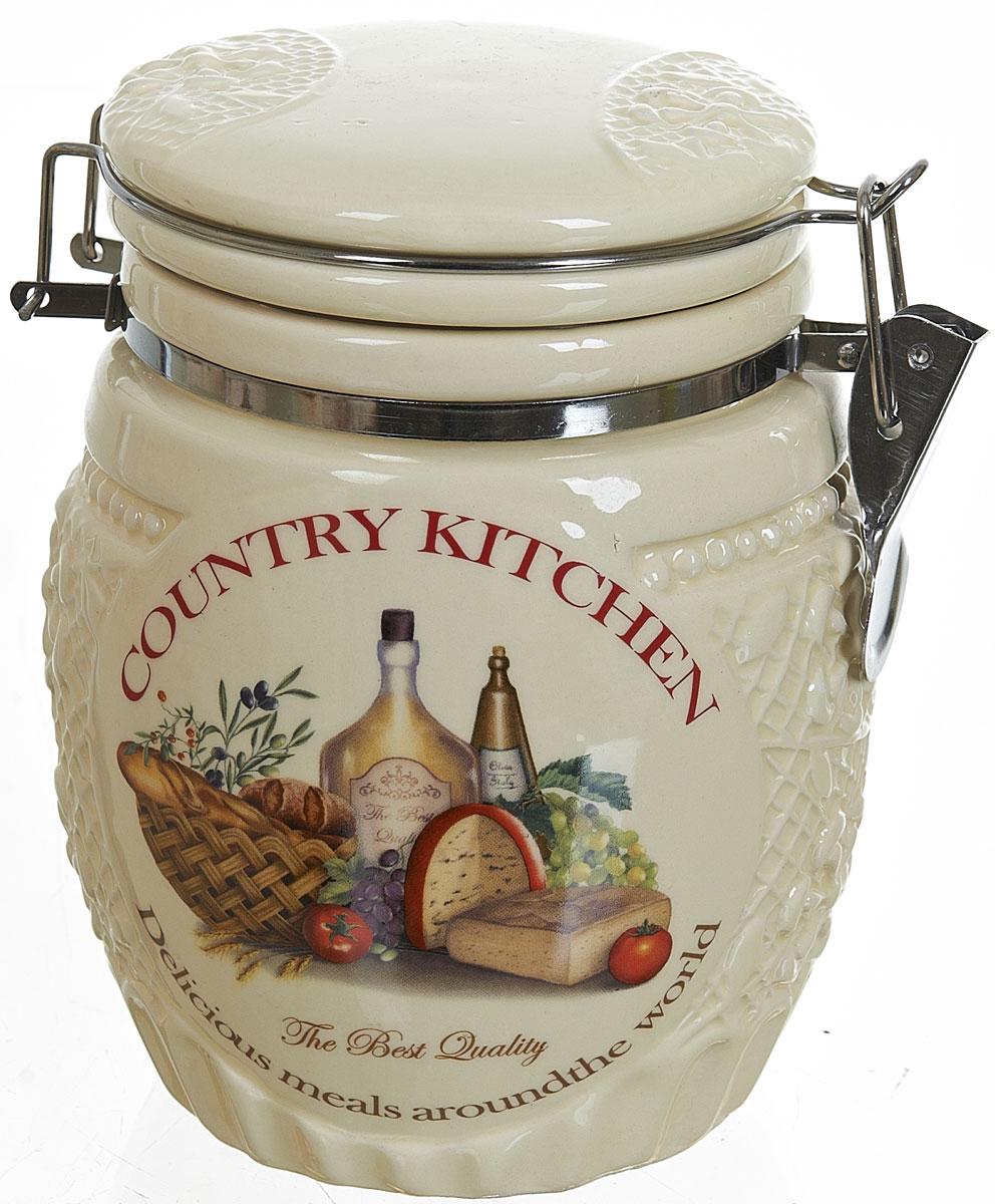 Банка для сыпучих продуктов Polystar Country Kitchen, 840 млL0210041Банка для сыпучих продуктов Country Kitchen изготовлена из прочной керамики, закрывается крышкой. Банка прекрасно подойдет для хранения различных сыпучих продуктов: чая, кофе, сахара, круп и многого другого. Благодаря силиконовой прослойке и бугельному замку, крышка герметично закрывается, что позволяет дольше сохранять продукты свежими. Изящная емкость не только поможет хранить разнообразные сыпучие продукты, но и стильно дополнит интерьер кухни.Объем: 840 мл.