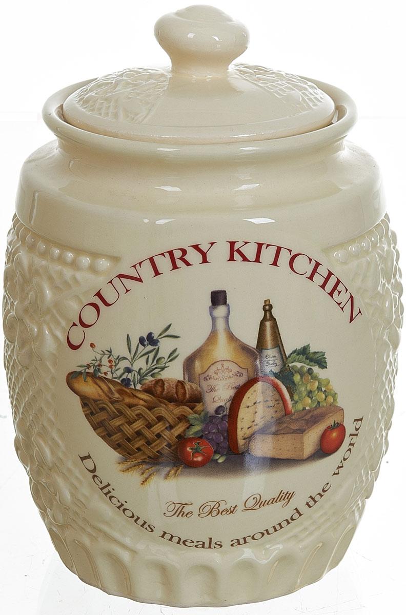"""Банка для сыпучих продуктов """"Country Kitchen"""" изготовлена из прочной керамики, закрывается крышкой. Банка прекрасно подойдет для хранения  различных сыпучих продуктов: чая, кофе, сахара, круп и многого другого.  Изящная емкость не только поможет хранить разнообразные сыпучие продукты, но и стильно дополнит интерьер кухни. Объем: 1 л."""