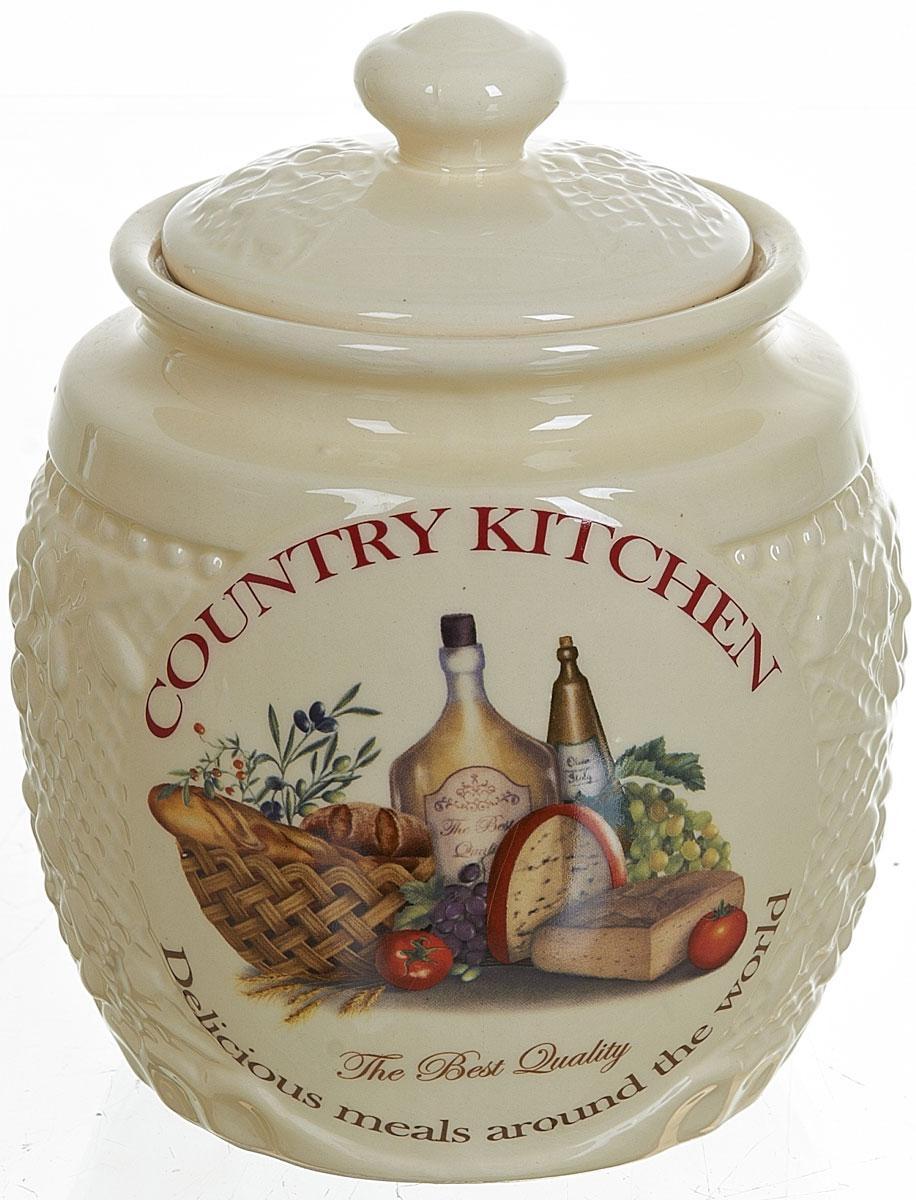 Банка для сыпучих продуктов Polystar Country Kitchen, цвет: бежевый, 870 мл банка для сыпучих продуктов zibo shelley итальянские мотивы 350 мл