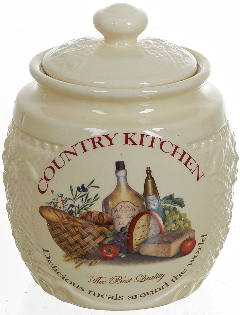 Банка для сыпучих продуктов Polystar Country Kitchen, цвет: бежевый, 870 мл банка 500 мл polystar банка 500 мл
