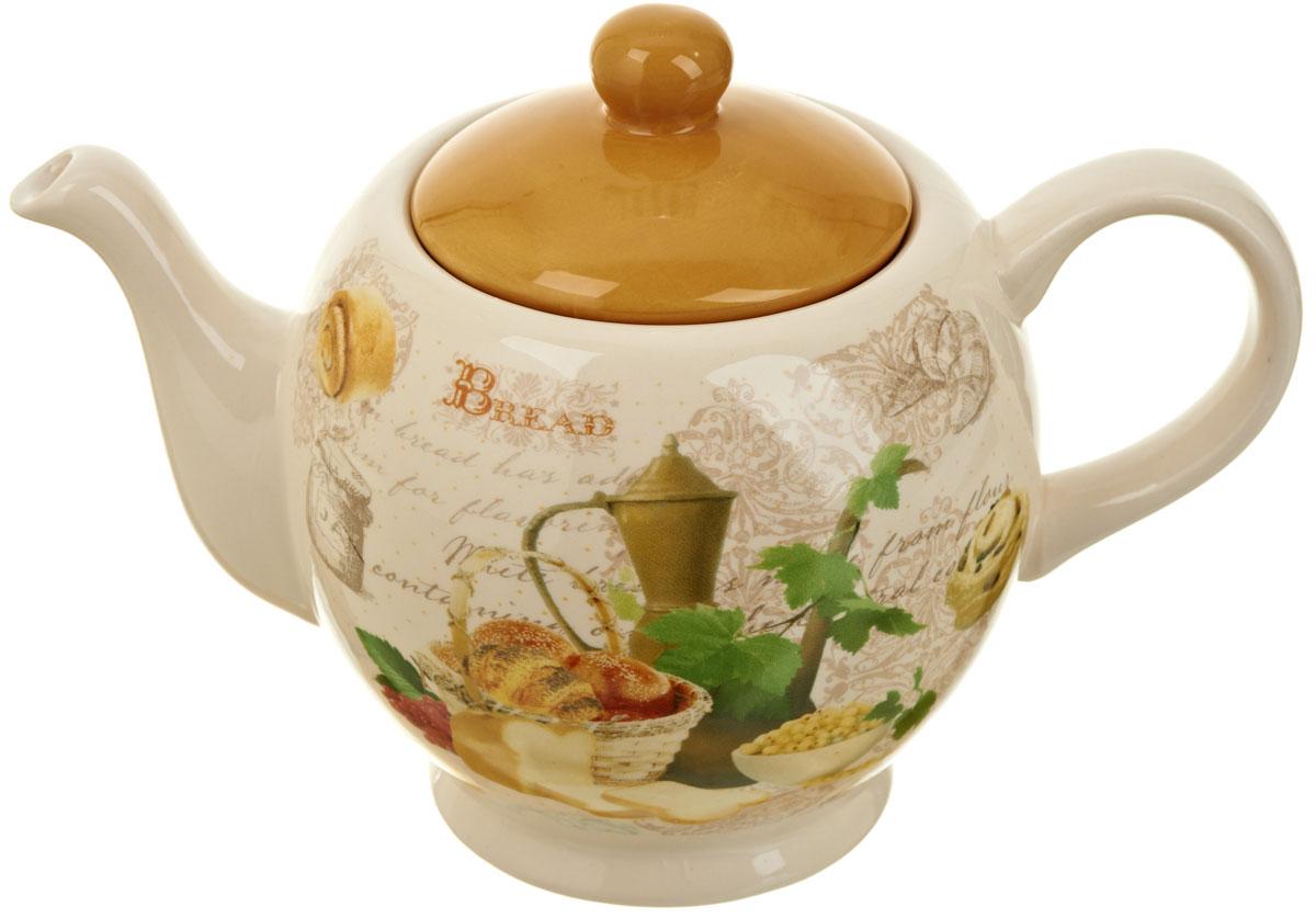 """Заварочный чайник """"Хлеб"""" изготовлен из высококачественной керамики. Изделие прекрасно подходит для заваривания вкусного и ароматного чая, а также травяных настоев. Отверстия в основании носика препятствуют попаданию чаинок в чашку. Красочный дизайн сделает чайник настоящим украшением стола.Объем: 950 мл."""
