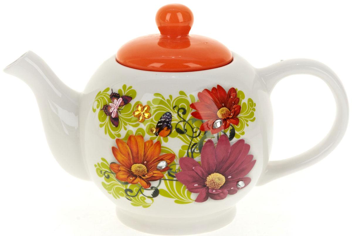 Чайник заварочный Polystar Герберы, 950 млL2430307Заварочный чайник Герберы изготовлен из высококачественной керамики, декорирован стразами. Изделие прекрасно подходит для заваривания вкусного и ароматного чая, а также травяных настоев. Красочный дизайн сделает чайник настоящим украшением стола.Объем: 950 мл.