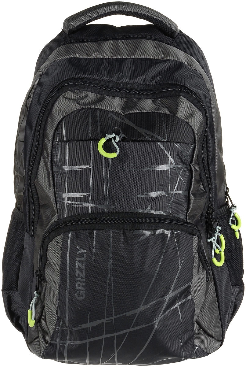 Рюкзак мужской Grizzly, цвет: черный, серый. RU-715-3/4RU-715-3/4Рюкзак Grizzly - это красивый и удобный рюкзак, который подойдет всем, кто хочет разнообразить свои будни. Рюкзак выполнен из плотного материала с оригинальным графическим принтом. Рюкзак содержит два вместительных отделения, каждое из которых закрывается на молнию. Внутри первого отделения имеется открытый накладной карман, на стенке которого расположился врезной карман на молнии. Внутри второго отделения расположены три открытых накладных кармана и карман-сетка на молнии. Снаружи, по бокам изделия, расположены два открытых кармана. Лицевая сторона дополнена двумя вместительными карманами на молниях. Рюкзак оснащен мягкой укрепленной ручкой для переноски, петлей для подвешивания и двумя практичными лямками регулируемой длины. У лямок имеется нагрудная стяжка-фиксатор.Практичный рюкзак станет незаменимым аксессуаром и вместит в себя все необходимое.