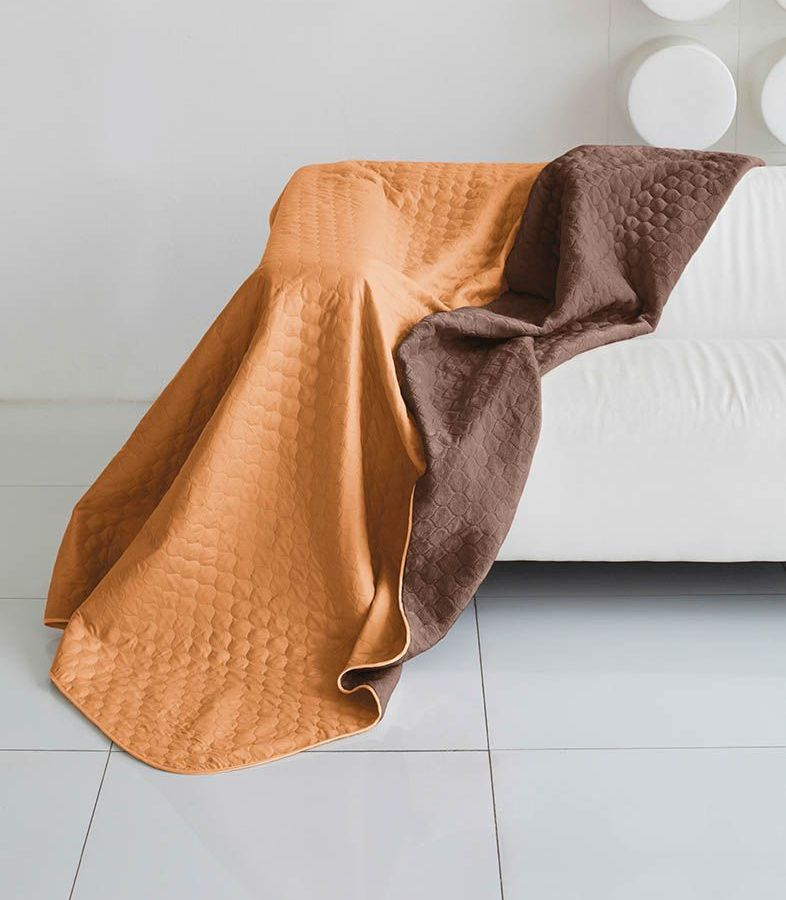 Комплект для спальни Sleep iX Multi Set, 2-спальный, цвет: оранжевый, коричневый, 4 предмета. pva221546pva221546Комплект для спальни Sleep iX Multi Set состоит из покрывала, простыни, 2 наволочек. Верх многофункционального одеяла-покрывала выполнен из мягкой микрофибры, которая хорошо сохраняет тепло, устойчива к стирке и износу, а низ выполнен изискусственного меха. Этот мех не требует специального ухода, он легко чистится и долгое время сохраняет мягкость и внешний вид. Наволочки, простыня и чехлы подушек выполнены из микрофибры. Комплект для спальни Sleep iX Multi Set - это прекрасный способ придать спальне уют и привнести в интерьер что-то новое.Размер одеяла-покрывала: 180 х 220 см.Размер простыни: 230 х 240 см.Размер наволочек: 50 х 70 см. (2 шт)Наполнитель: Силиконизированное волокно.