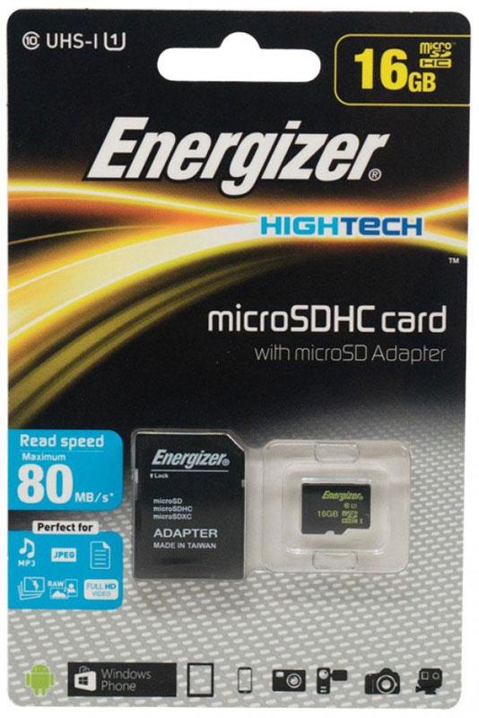 Energizer MicroSDHC Class10 UHS-I 16GB карта памяти с адаптером - Карты памяти