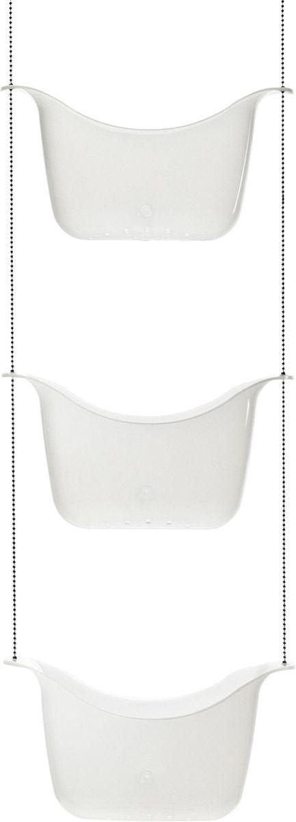 Органайзер для душа Umbra Bask, цвет: белый, никель, 92 х 28 х 13 см022360-670Простая и удобная идея организации всех многочисленных баночек, колбочек и бутылочек с шампунями, гелями для душа, кремами и прочими косметическими принадлежностями. Три корзины, соединенные цепочкой из нержавеющей стали, плюс два специальных крючка, которые позволяют повесить конструкцию на крепление для душа или штангу для шторки в ванной.Размеры: 28 х 92 х 13 см