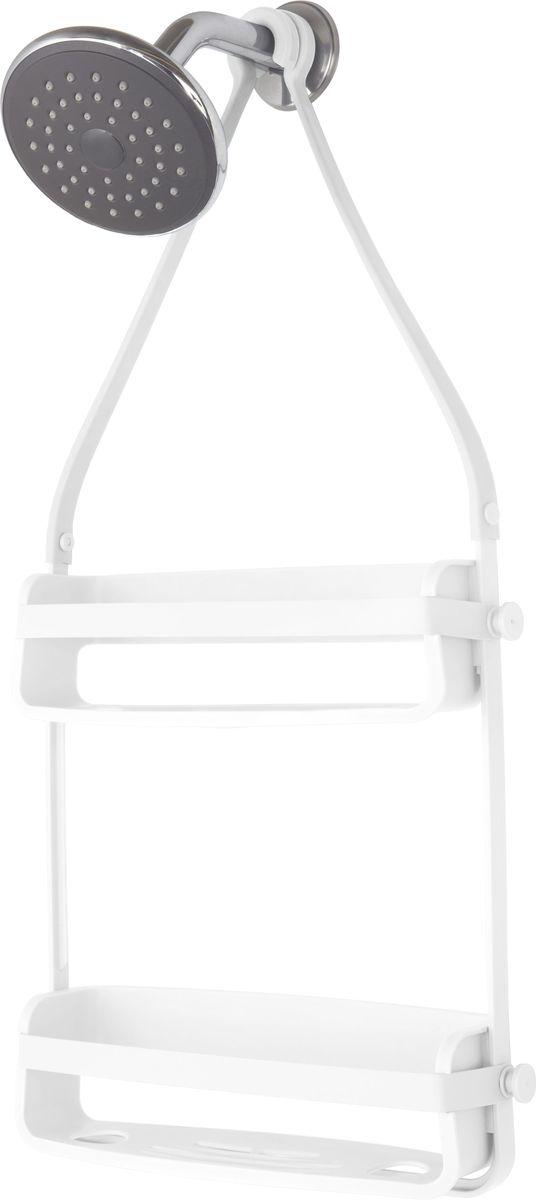 Органайзер для ванной Umbra Flex, цвет: белый, 40,9 х 10,2 х 35,1 см023460-660Удобный органайзер, который позволяет разместить максимум предметов на минимальном пространстве. Прочная основа выдерживает до 3,5 кг. В каждой полке предусмотрены отверстия, которые позволяют, перевернув флакон с гелем или шампунем, использовать его как диспенсер. Силиконовые ленты со специальными крючками позволяют повесить органайзер на крепление для душа или на штангу для занавески.Дизайн: Tom Chung