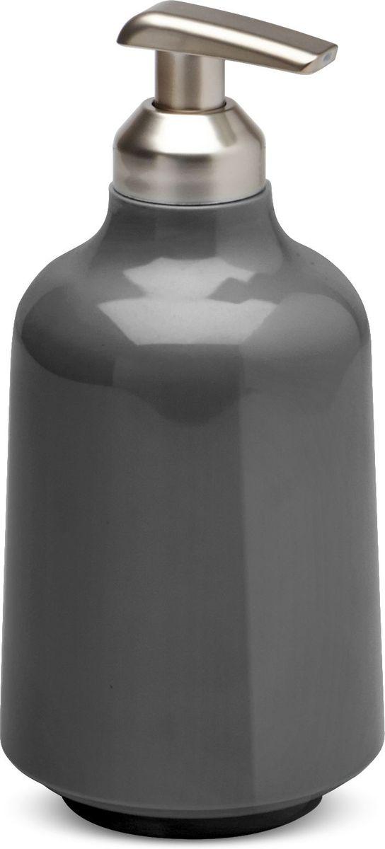 Диспенсер для мыла Umbra Step, цвет: темно-серый, 8,5 х 8,5 х 18 см диспенсер для жидкого мыла umbra penguin цвет черный 19 х 6 х 6 см