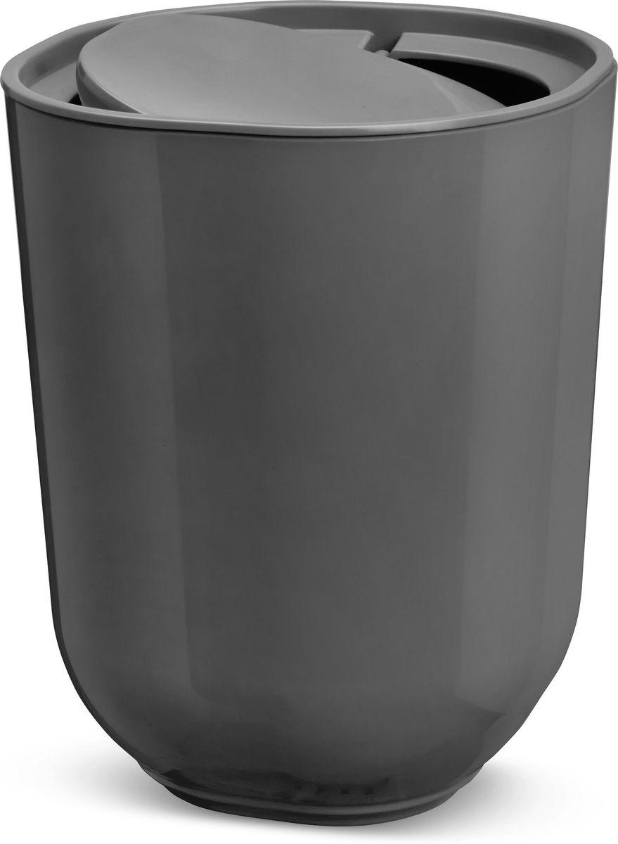 """Контейнер мусорный Umbra """"Step"""", с крышкой, цвет: темно-серый, 21,5 х 22 х 26,2 см"""