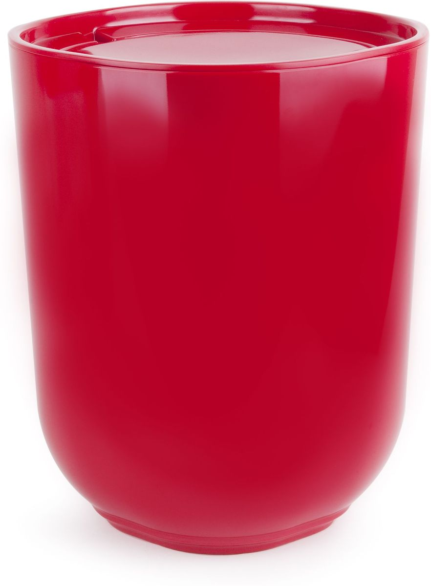 Контейнер мусорный Umbra Step, с крышкой, цвет: красный, 26 х 19 х 19 см umbra контейнер мусорный step с крышкой ø19х26 см черный t hm d9yo