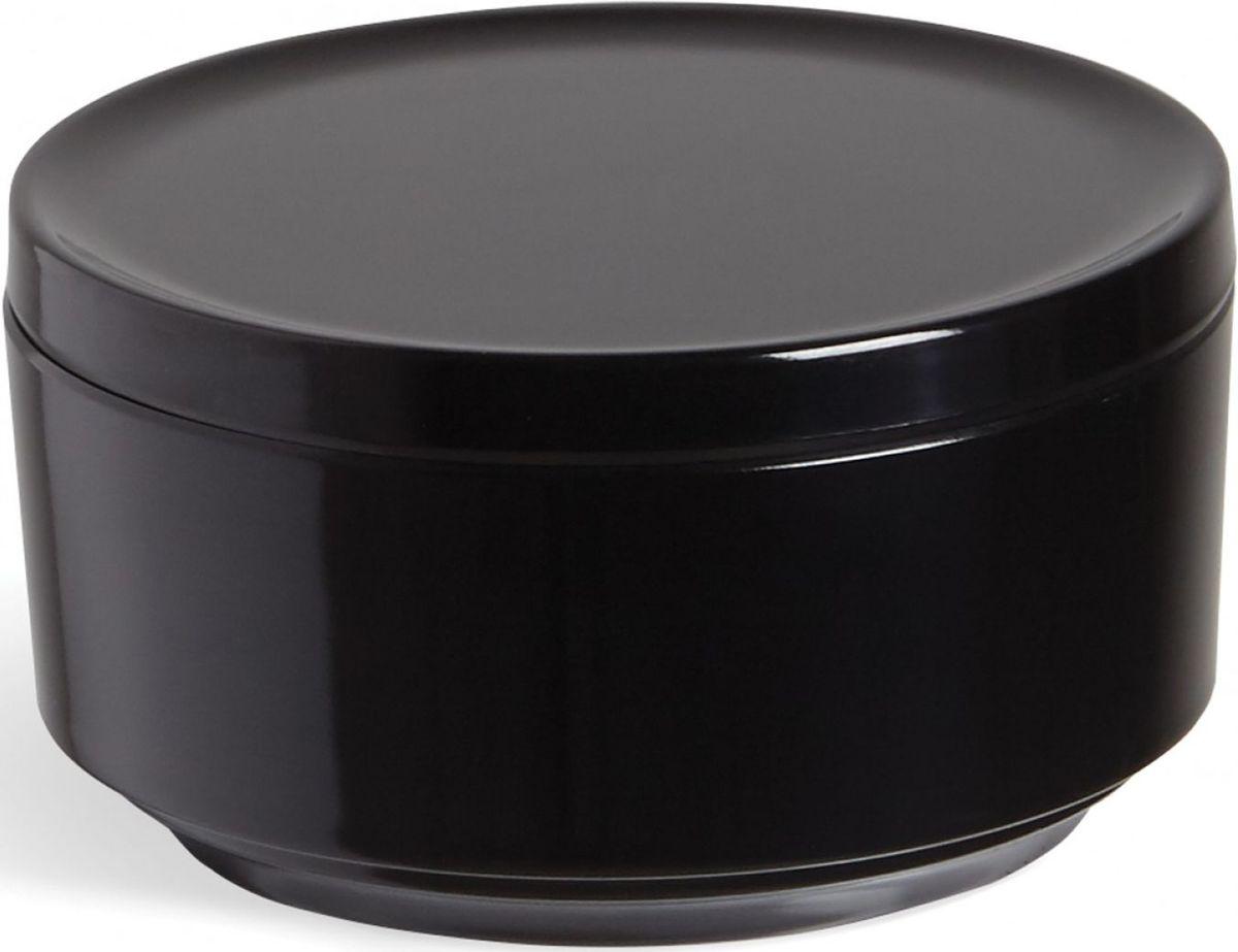 Контейнер для хранения Umbra Step, цвет: черный, 7,1 х 12,7 х 12,7 см024000-040Невероятно аккуратный и удобный контейнер из литого меламина для хранения ватных дисков и других мелочей в ванной. Блангодаря крышке, ватные диски не намокнут и не покроются пылью.Сочетается с другими аксессуарами из коллекции STEP Дизайнер Umbra Studio