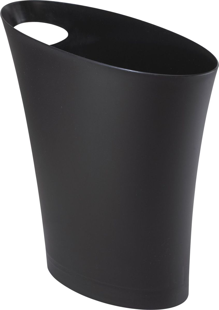 Контейнер мусорный Umbra Skinny, цвет: черный, 34 х 33 х 17 см082610-040Очередное изобретение Карима Рашида, одного из самых известных промышленных дизайнеров. Оригинальный замысел и функциональный подход обеспечены! Привычные мусорные корзины в виде старых ведер из-под краски или ненужных коробок давно в прошлом. Каждый элемент в современном доме должен иметь определенный смысл, быть креативным и удобным, вплоть до мусорного ведра. Несмотря на кажущийся миниатюрный размер мусорного контейнера Umbra Skinny, ведро вмещает до 7,5 литров, а ручка в виде отверстия на верхней части ведра удобна при переноске.