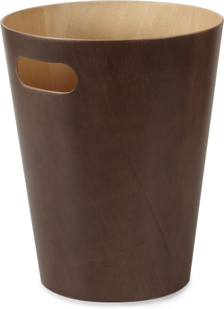 Корзина для мусора Umbra Woodrow, цвет: эспрессо, 27,9 х 22,9 х 22,9 см082780-213Минималистичная корзина для бумаг Umbra Woodrow изготовлена из березовой гнутой фанеры и оснащена удобной ручкой для переноски. Современный дизайн и натуральные материалы позволят использовать корзину и в детской, и в офисе.