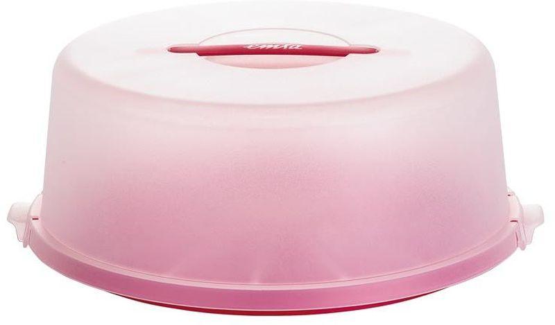 Контейнер для торта Emsa Basic, цвет: красный, диаметр 33 см сушилка для салата emsa basic 4 л