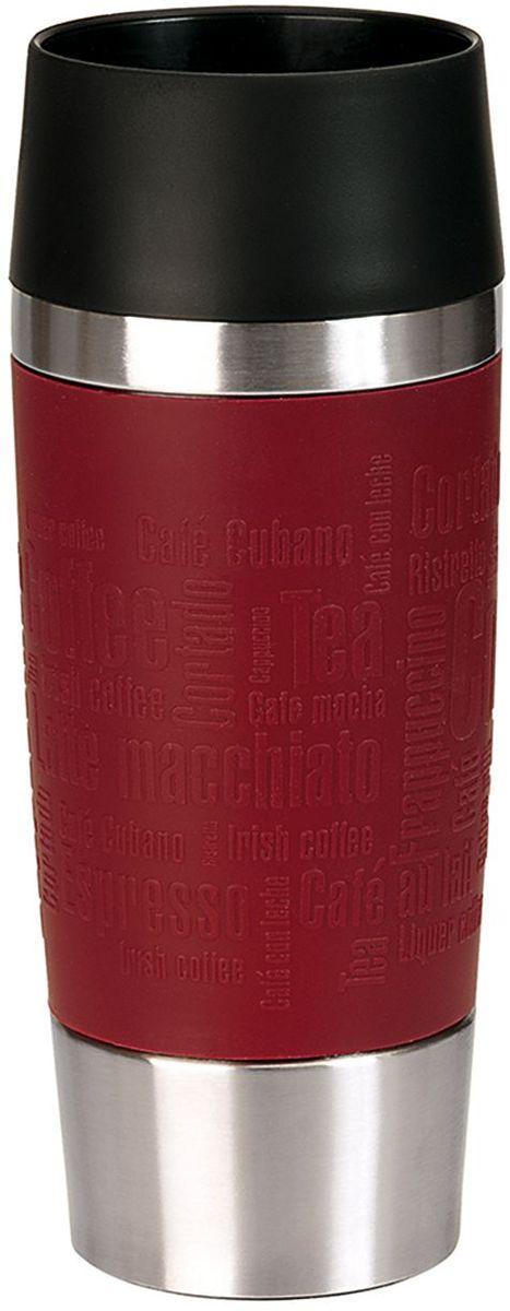 Термокружка Emsa Travel Mug, цвет: красный, 360 мл515679Термокружка Emsa Travel Mug - это идеальный попутчик в дороге - не важно, по пути ли на работу, в школу или во время похода по магазинам. Вакуумная кружка на 100% герметична. Кружка имеет вакуумную колбу из нержавеющей стали с двойными стенками, благодаря чему температура жидкости сохраняется долгое время. Кружку удобно держать благодаря силиконовому покрытию Soft Touch с оригинальным рельефом в виде надписей. Изделие открывается нажатием кнопки. Пробка разбирается и превосходно моется. Дно кружки выполнено из противоскользящего материала.Можно мыть в посудомоечной машине.Диаметр кружки по верхнему краю: 8 см. Диаметр дна кружки: 6,5 см. Высота кружки: 20 см. Сохранение холодной температуры: 8 ч. Сохранение горячей температуры: 4 ч.