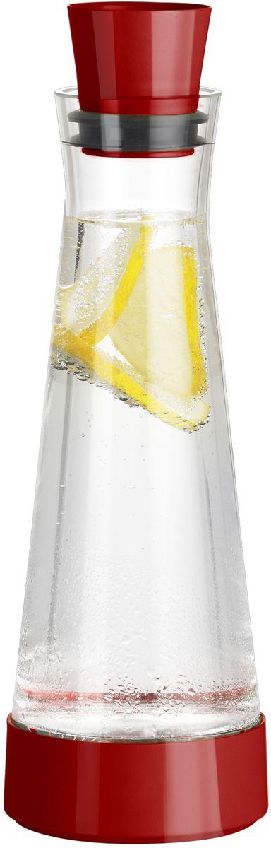 Графин Emsa Flow Slim Friends, с термоэлементом, цвет: красный, прозрачный, 1 л515476Графин Emsa Flow Slim Friends с охладительным элементом позволит не просто красиво хранить напитки, но и дольше сохранять их холодными. Графин изготовлен и отполирован вручную из тончайшего силикатного стекла. Пластиковая пробка с силиконовой прослойкой плотно закрывает горлышко. При наливании напитков не обязательно снимать пробку, она открывается и закрывается автоматически. Специальная конструкция пробки позволяет наливать напиток, не пролив ни капли. Графин также оснащен специальной подставкой. Охладительный элемент с охлаждающим гелем сохраняет прохладу до 4 часов. Узкая форма графина подходит для внутренней дверцы холодильника. Изделие можно мыть в посудомоечной машине. Диаметр основания графина: 10 см. Диаметр подставки: 11 см. Диаметр горлышка: 7 см. Высота графина (с пробкой и подставкой): 34 см. Высота графина (без учета подставки): 30 см.