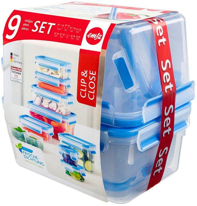 Набор контейнеров Emsa Clip&Close, цвет: прозрачный, голубой, 9 предметов термокружка emsa travel mug 360 мл 513351
