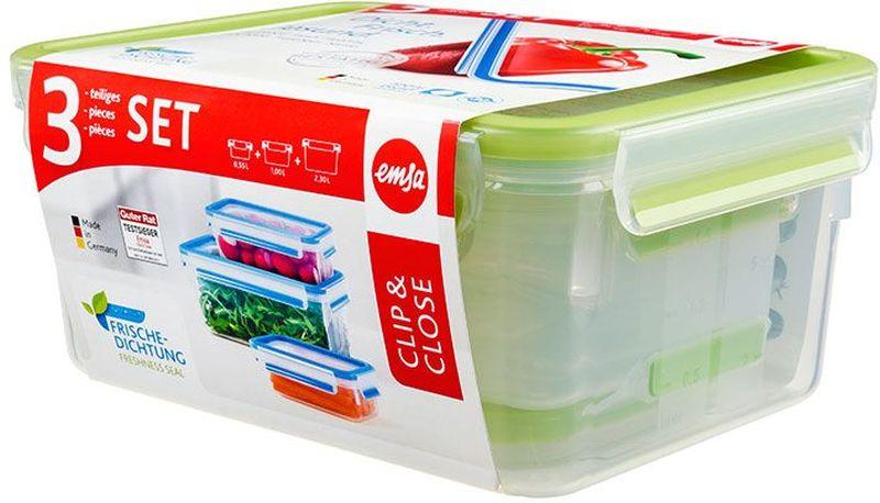 Набор контейнеров Emsa Clip&Close, цвет: зеленый, прозрачный, 3 предмета515585Набор Emsa Clip&Close состоит из трех контейнеров разного объема, изготовленных из высококачественного пищевого пластика, который выдерживает температуру от -40°С до +110°С, не впитывает запахи и не изменяет цвет. Это абсолютно гигиеничный продукт, который подходит для хранения даже детского питания.Изделия снабжены крышками, плотно закрывающимися на 4 защелки. Герметичность достигается за счет специальных силиконовых прослоек, которые позволяют использовать контейнер для хранения не только пищи, но и напитков. В таком контейнере продукты долгое время сохраняют свою свежесть. Прозрачные стенки позволяют просматривать содержимое. Сбоку имеются отметки литража.Изделия подходят для домашнего использования, для пикников, поездок, такие контейнеры удобно брать с собой на работу или учебу.Можно использовать в СВЧ-печах, холодильниках, посудомоечных машинах, морозильных камерах.Объем контейнеров: 0,55 л, 1 л, 2,3 л.