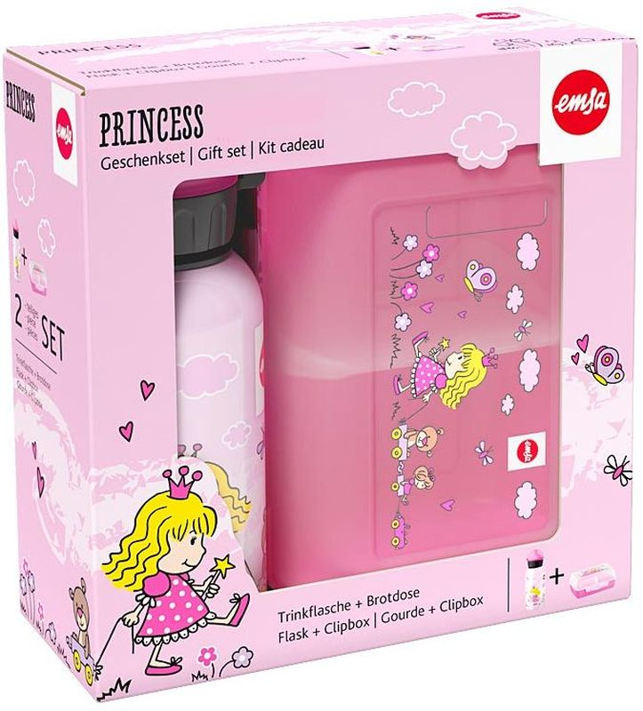 Ланч-бокс Emsa Princess Kids, с фляжкой, цвет: розовый516165Ланч-бокс и фляжка Emsa Princess Kids выполнены из пищевого пластика. Ланч-бокс для детей позволяет взять даже сложный обед из нескольких блюд в одном компактном контейнере, так как имеет разделитель. Контейнер надежно закрывается на клипсу. Фляга изготовлена из алюминия и покрыта специальным составом, который препятствует окислению. В нее можно заливать не только воду, но и соки, чай и другие напитки. Из фляги очень удобно пить, а крышка закрывается абсолютно герметично.Объем фляги: 0, 4 л.