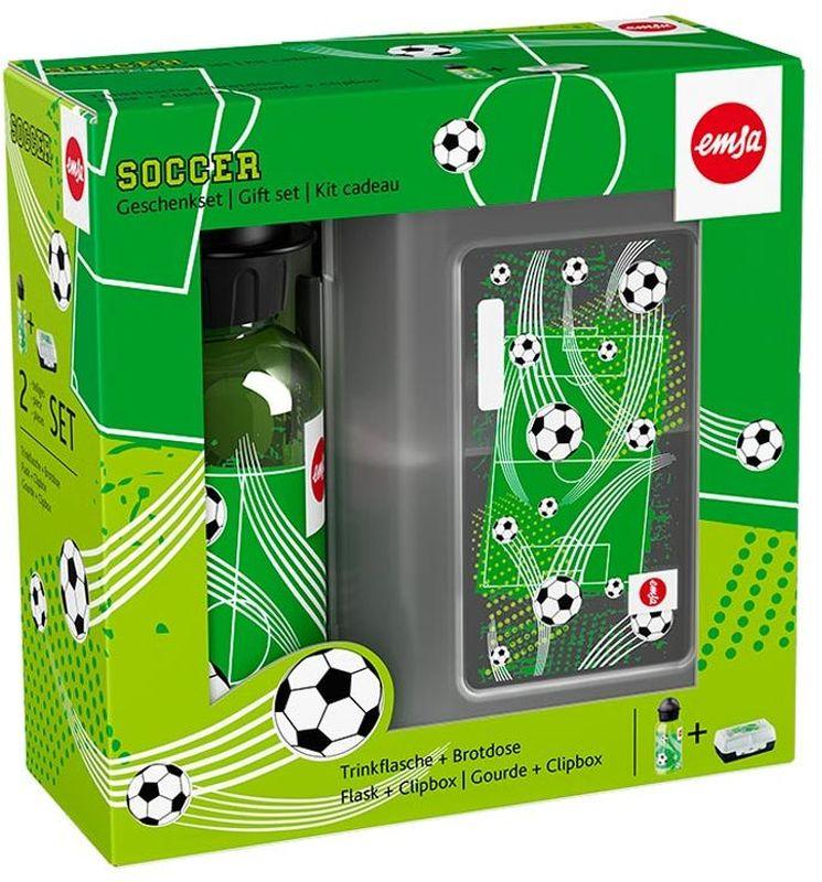 Ланч-бокс Emsa Soccer Kids, с фляжкой, цвет: серый, зеленый517225Ланч-бокс и фляжка Emsa Soccer Kids выполнены из пищевого пластика. Ланч-бокс для детей позволяет взять даже сложный обед, из нескольких блюд, в одном компактном контейнере, так как имеет разделитель. Контейнер надежно закрывается на клипсу. Фляга изготовлена из алюминия и покрыта специальным составом, который препятствует окислению. В нее можно заливать не только воду, но и соки, чай и другие напитки. Из фляги очень удобно пить, а крышка закрывается абсолютно герметично. Объем фляги: 0, 4 л.