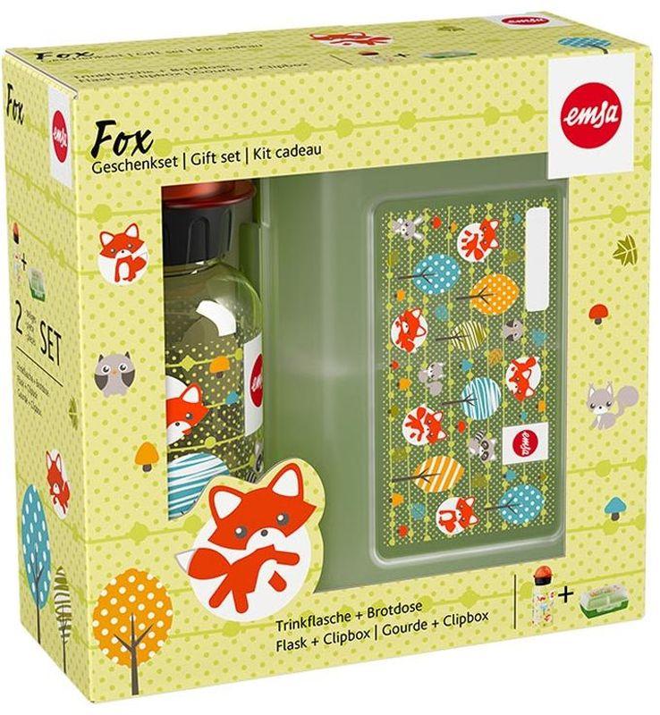 Ланч-бокс Emsa Fox Kids, с фляжкой, цвет: мультиколор517226Ланч-бокс и фляжка Emsa Fox Kids выполнены из пищевого пластика. Ланч-бокс для детей позволяет взять даже сложный обед, из нескольких блюд, в одном компактном контейнере, так как имеет разделитель. Контейнер надежно закрывается на клипсу. Фляга изготовлена из алюминия и покрыта специальным составом, который препятствует окислению. В нее можно заливать не только воду, но и соки, чай и другие напитки. Из фляги очень удобно пить, а крышка закрывается абсолютно герметично.Объем фляги: 0, 4 л.