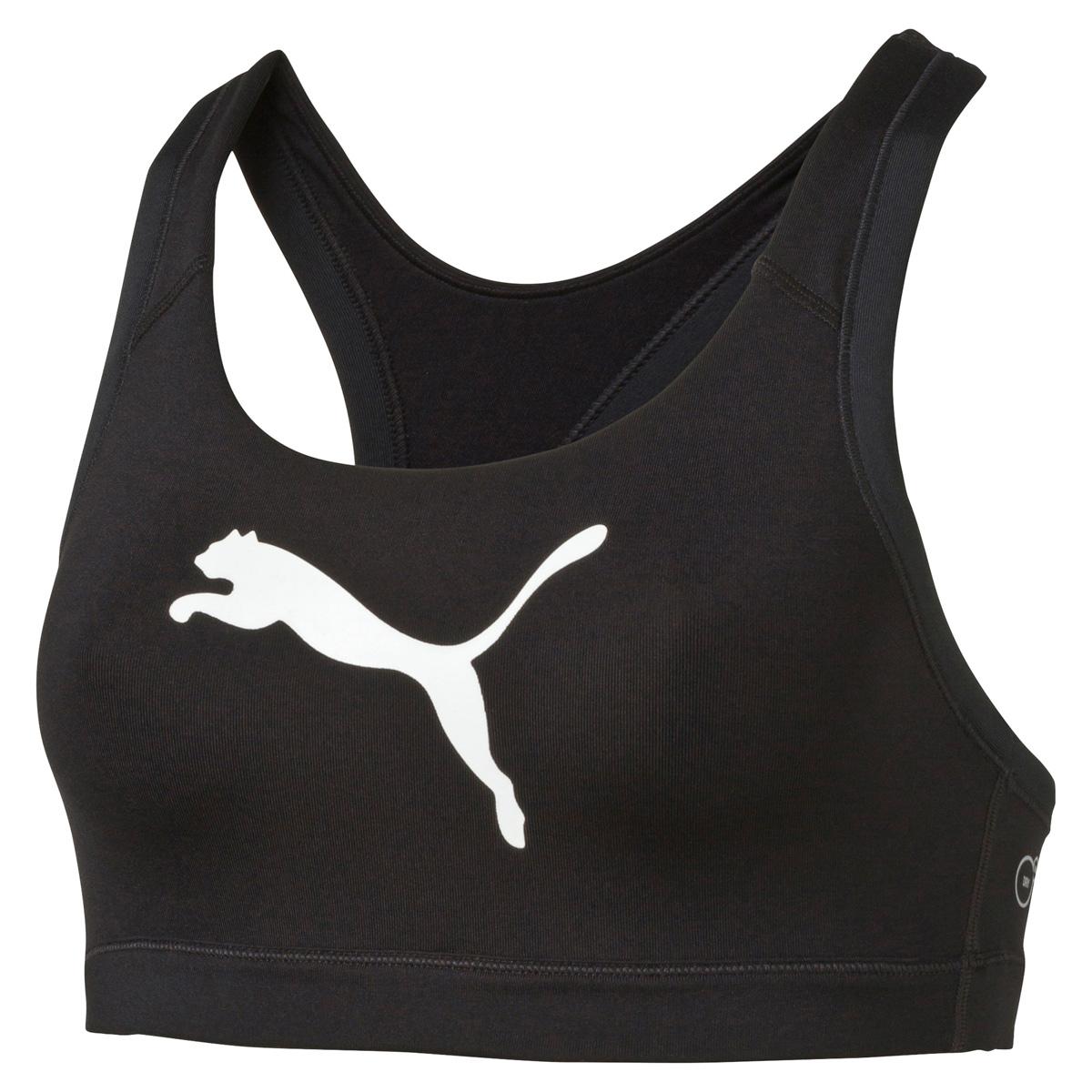 Топ-бра для фитнеса Puma Pwrshape Forever, цвет: черный. 51396512. Размер S (42/44)513965_12Этот спортивный бюстгальтер-топ станет вашей любимой моделью, потому что он - незаменимая часть вашего гардероба для занятий спортом и активного отдыха! Отличный дизайн обеспечивает универсальность, поэтому бюстгальтер можно надевать в тренажерный зал, на занятие всеми видами фитнеса, на пробежку. Дополнительные удобства создаются за счет использования высокофункциональной технологии dryCELL, которая отводит влагу, поддерживает тело сухим и гарантирует комфорт во время активных тренировок и занятий спортом. Наплечные лямки с мягкой подложкой, не перекрещивающиеся на спине, не натирают, не давят, а также обеспечивают полную свободу движений и удобство надевания изделия благодаря функциональному крою спины. Отделка низа сверхэластичным плотным материалом создает дополнительную поддержку. Бюстгальтер декорирован спереди логотипом PUMA из светоотражающего материала, нанесенным методом термопечати, благодаря которому вас лучше видно в темное время суток. На нижний край изделия методом термопечати нанесен логотип dryCELL. Модель подходит для всех видов физической активности.