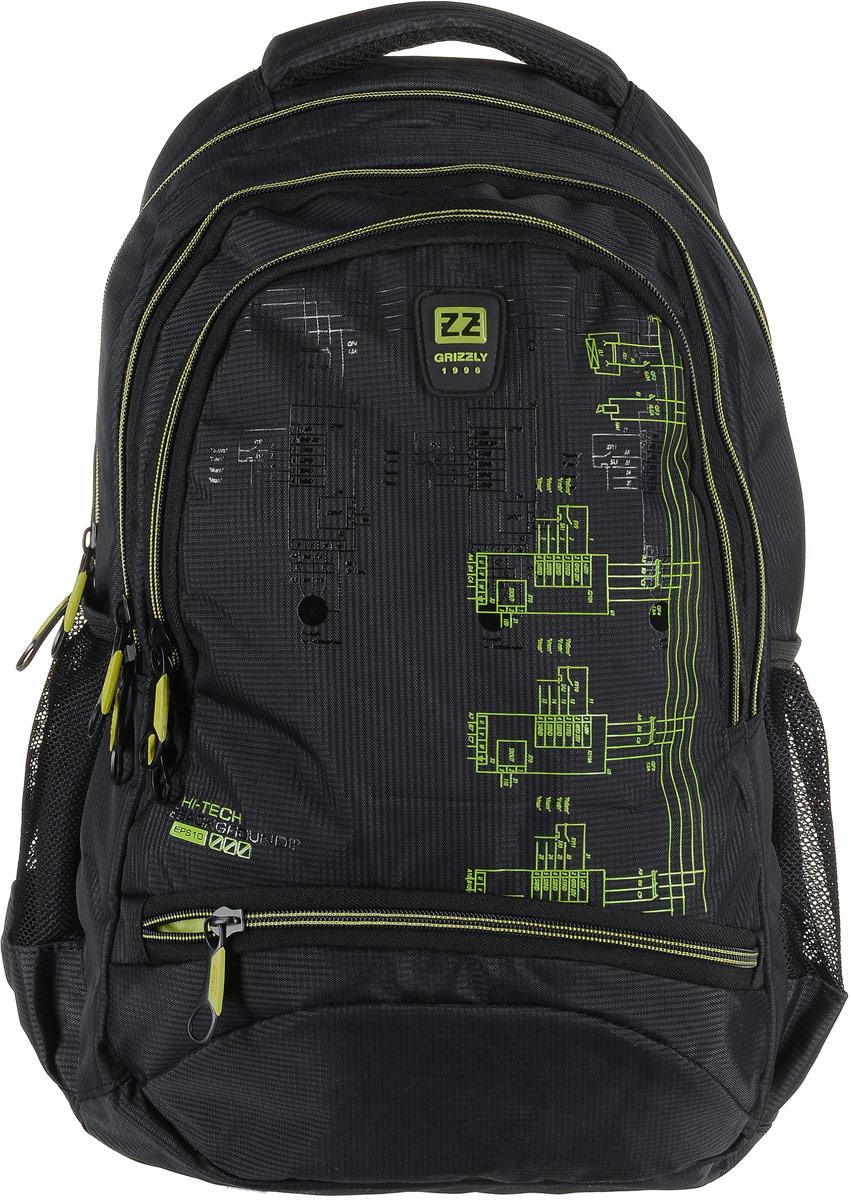 Рюкзак мужской Grizzly, цвет: темно-серый, салатовый. RU-722-2/1RU-722-2/1Рюкзак Grizzly - это красивый и удобный рюкзак, который подойдет всем, кто хочет разнообразить свои будни. Рюкзак выполнен из плотного материала с оригинальным принтом.Рюкзак содержит три вместительных отделения, каждое из которых закрывается на молнию. Внутри первого отделения имеется открытый накладной карман, на стенке которого расположился врезной карман на молнии. Второе отделение не содержит дополнительных карманов. Внутри третьего отделения расположены четыре открытых накладных кармашка. Снаружи, по бокам изделия, расположены два открытых сетчатых кармана. Лицевая сторона снизу дополнена карманом на застежке-молнии. Рюкзак оснащен мягкой укрепленной ручкой для переноски, петлей для подвешивания и двумя практичными лямками регулируемой длины. У лямок имеется нагрудная стяжка-фиксатор. Практичный рюкзак станет незаменимым аксессуаром и вместит в себя все необходимое.