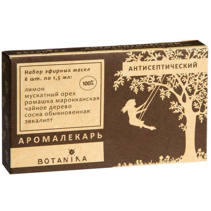 """В набор Botanika """"Антисептический набор"""" входят 100% эфирные масла: лимон, мускатный орех, ромашка, сосна обыкновенная, чайное дерево, эвкалипт.    Лимон является мощным бактерицидным средством, борется с микроорганизмами, вызывающими воспалительный процесс. Позволяет побороть простудные и инфекционные заболевания дыхательных путей.  Мускатный орех - защищает нежные слизистые от агрессивного воздействия внешних факторов.  Ромашка, обладая заметным антисептическим, бактерицидным, противоаллергенным действием, масло ромашки обеззараживает и вызывает быстрое заживление мелких повреждений, устраняет зуд.  Сосна обыкновенная - облегчает дыхание, очищает верхние и нижние дыхательные пути, помогает быстро устранить кашель.  Чайное дерево сильное противовирусное средство, нейтрализующее воспалительные процессы. Может использоваться для ингаляций и массажа во время простудных заболеваний, а также для избавления от болезней дыхательной системы. Заживляет раны и ожоги, обеззараживает царапины и порезы.  Эвкалипт при контакте эвкалиптового масла с воздухом, происходит выделение большого количества озона, убивающего бактерии.  Товар сертифицирован."""