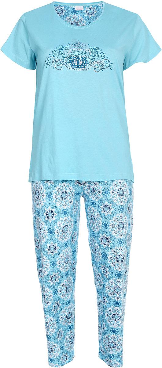 Комплект домашний женский Vienetta's Secret: футболка, брюки, цвет: светло-бирюзовый. 610137 0083. Размер XXXL (54) домашний комплект женский homelike футболка брюки цвет бирюзовый 857 размер 52