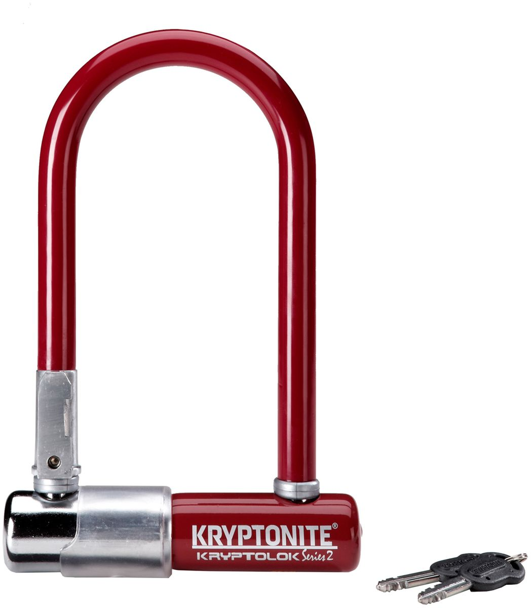 Замок велосипедный Kryptonite U-locks KryptoLok Series 2 Mini-7, U-образный, цвет: бордовый , 8,2 х 17 см