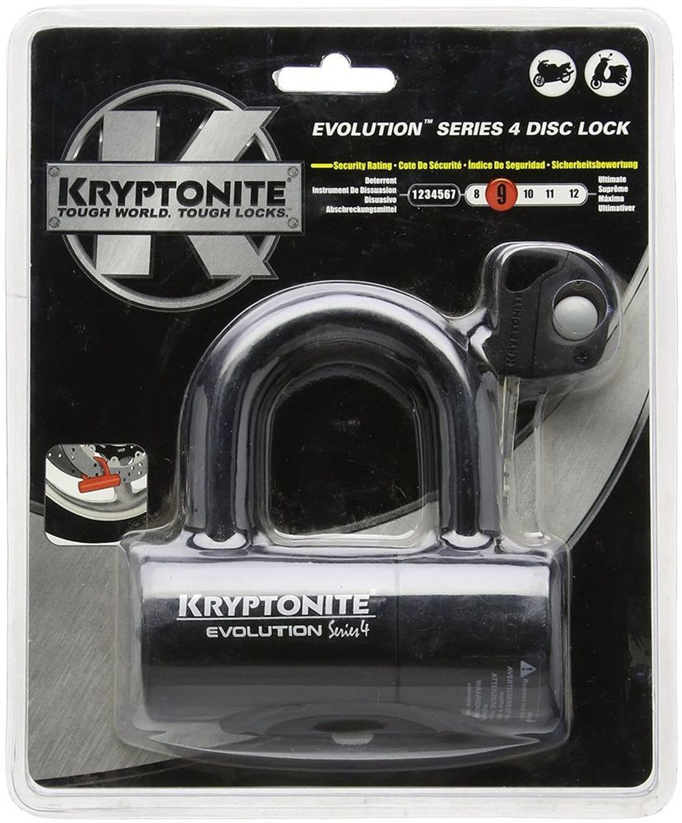 Замок велосипедный Kryptonite Disc Locks Evolution Series 4 Disc Lock, цвет: черный, 4,8 х 5,4 см deroace велосипедный цепной стальной замок для электрокара электро мотороллера мотора