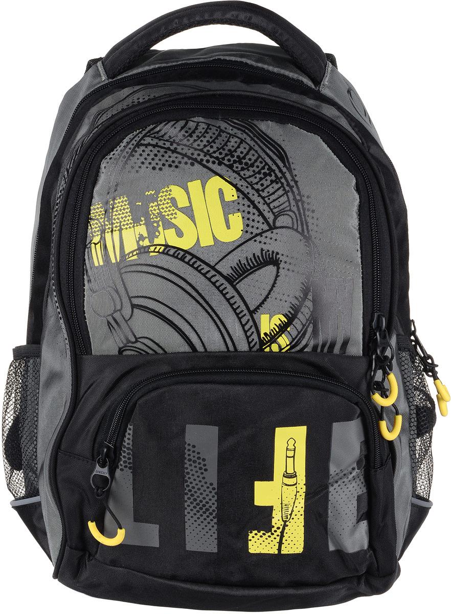 Рюкзак мужской Grizzly, цвет: серый, желтый. RU-715-1/2RU-715-1/1Рюкзак Grizzly - это красивый и удобный рюкзак, который подойдет всем, кто хочет разнообразить свои будни. Рюкзак выполнен из плотного материала с оригинальным принтом. Рюкзак содержит два вместительных отделения, каждое из которых закрывается на молнию. Внутри первого отделения имеется открытый накладной карман, на стенке которого расположился врезной карман на молнии. Внутри второго отделения расположены два открытых накладных кармана, два кармашка под канцелярские принадлежности и один врезной карман на молнии. Снаружи, по бокам изделия, расположены два сетчатых кармана. Лицевая сторона дополнена вместительным карманом на застежке-молнии. Рюкзак оснащен мягкой укрепленной ручкой для переноски, петлей для подвешивания и двумя практичными лямками регулируемой длины. Изделие дополнено светоотражающими элементами.Практичный рюкзак станет незаменимым аксессуаром и вместит в себя все необходимое.