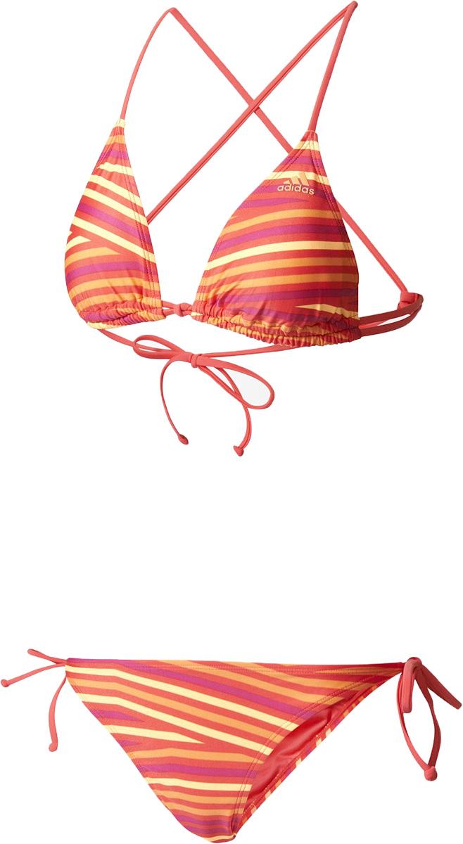 Купальник раздельный женский Adidas Bg1 Aop Tri Bik, цвет: розовый, коралловый. BJ9814. Размер 34 (42)BJ9814Раздельный купальник Adidas обеспечит тебе неотразимый образ во время купания. Специальная технология производства придает приятное ощущение мягкости и комфорта, а также дает возможность настроить нужную поддержку.