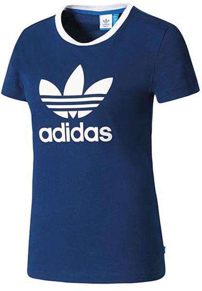 где купить Футболка женская Adidas Trefoil Tee, цвет: синий. BK2095. Размер 36 (44) дешево