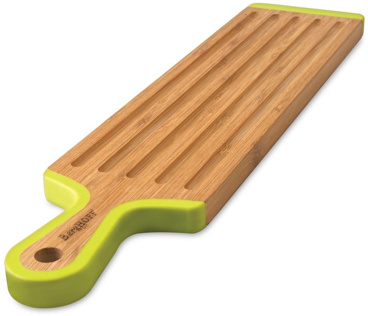 Доска разделочная BergHOFF Studio, бамбуковая, 43 х 10 х 1,5 см1101699Доска разделочная BergHOFF Studio изготовлена из бамбука. Бамбук обладает природными антибактериальными свойствами. Доска отличается долговечностью, большой прочностью и высокой плотностью, легко моется, не впитывает запахи и обладает водоотталкивающими свойствами, при длительном использовании не деформируется. С двух сторон изделие оснащено силиконовыми вставками. На одной из вставок имеется отверстие для подвешивания в удобном для вас месте.Доска разделочная BergHOFF Studio отлично подойдет для приготовления и сервировки пищи. Не рекомендуется мыть в посудомоечной машине.