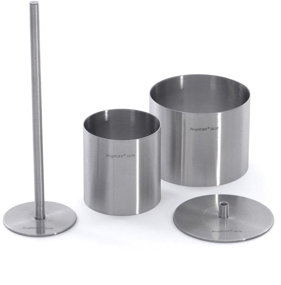 Набор формовочных колец для укладки пищи BergHOFF, 15 предметов1109107Набор формовочных колец для укладки пищи- отличный выбор как для домашней, так и для профессиональной кухни.Оправа для сервировки блюд - вид формочек без дна, предназначенной для сервировки блюд в виде башни.Используя такие оправы всегда можно придать закускам, салатам, основным блюдам или десертам праздничный вид.Оправы изготовляются из нержавеющей стали 18/10 без каких-либо швов, в которые могла бы забиться пища. Этот материал долговечный и не подвержен коррозии, поверхность износостойка, гигиенична и легко поддается очистке.Состав набора:- шесть круглых оправ 7,5 х 6 см.,- шесть круглых оправ 5,5 х 6 см.,- один круглый пресс диаметром 7 см.,- один круглый пресс диаметром 5 см.,- один стержень длиной 16 см.
