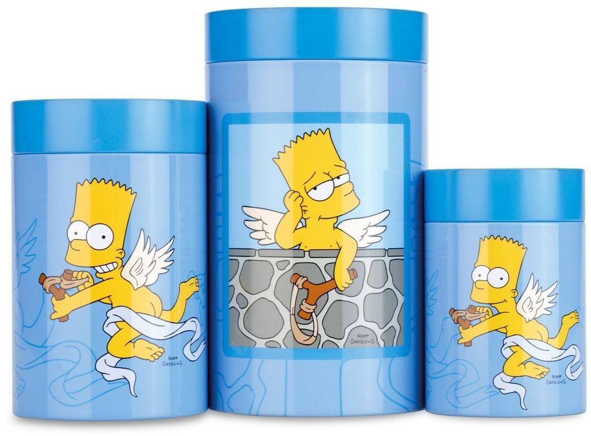 Набор банок для печенья BergHOFF Simpsons, 3 шт1500249Набор банок для печенья Simpsons. Кухонная посуда бельгийской марки Berghoff. Отличное качество, стиль, инновационный дизайн! Бренд, который задает тон в международной индустрии товаров для дома. -Баночки из нержавеющей стали, с красочным цветным покрытием. -Закрываются плотно, не пропускают влагу и запахи. -В набор входят 3 банки разного объема. -Рекомендуется мыть вручную жидкими моющими средствами.