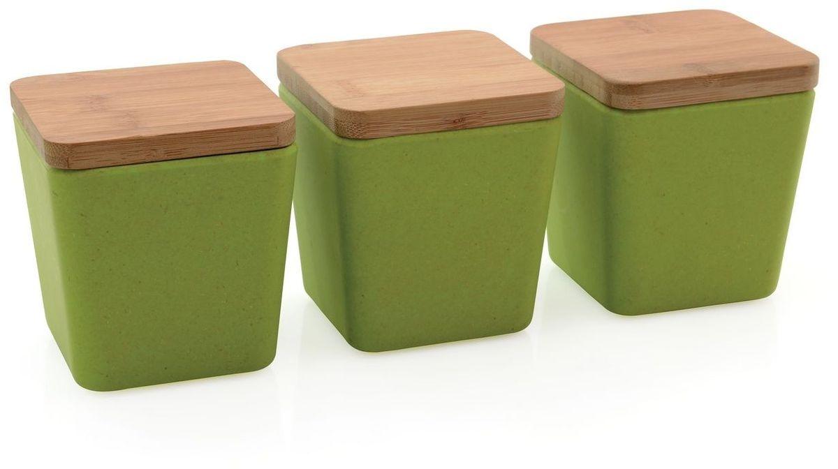 Набор емкостей для хранения BergHOFF Cook&Co, цвет: салатовый, 3 шт2800059Набор состоит из трех небольших емкостей, выполненных из натурального бамбука зеленого цвета. Емкости оснащены крышками, которые имеют силиконовую вставку для более плотного закрывания емкостей.Такой набор прекрасно подойдет для хранения сыпучих продуктов. Оригинальный современный дизайн и функциональность сделают этот набор достойным дополнением к вашему кухонному инвентарю. Размер емкости: 8,5 х 8,5 х 10 см.