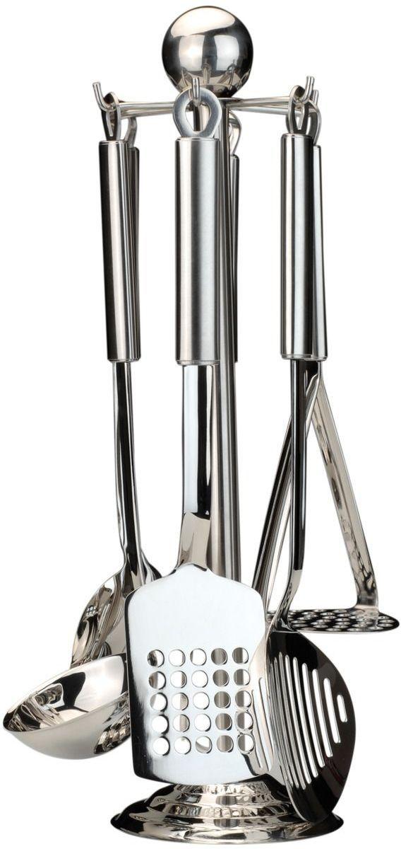 Набор кухонных принадлежностей BergHOFF Cook&Co, 8 предметов2800645Кухонный гарнитур Berghoff Cook&Co Duet на стойке отлично подойдет для вашей кухни или бара. Набор выполнен из нержавеющей стали. Он очень удобен и прост в использовании.В набор входят:сервировочная ложка;пресс для картофеля;лопатка с отверстиями;половник;вилка для мяса;шумовка;настенный крепеж;стойка.Подходит для посудомоечной машины.