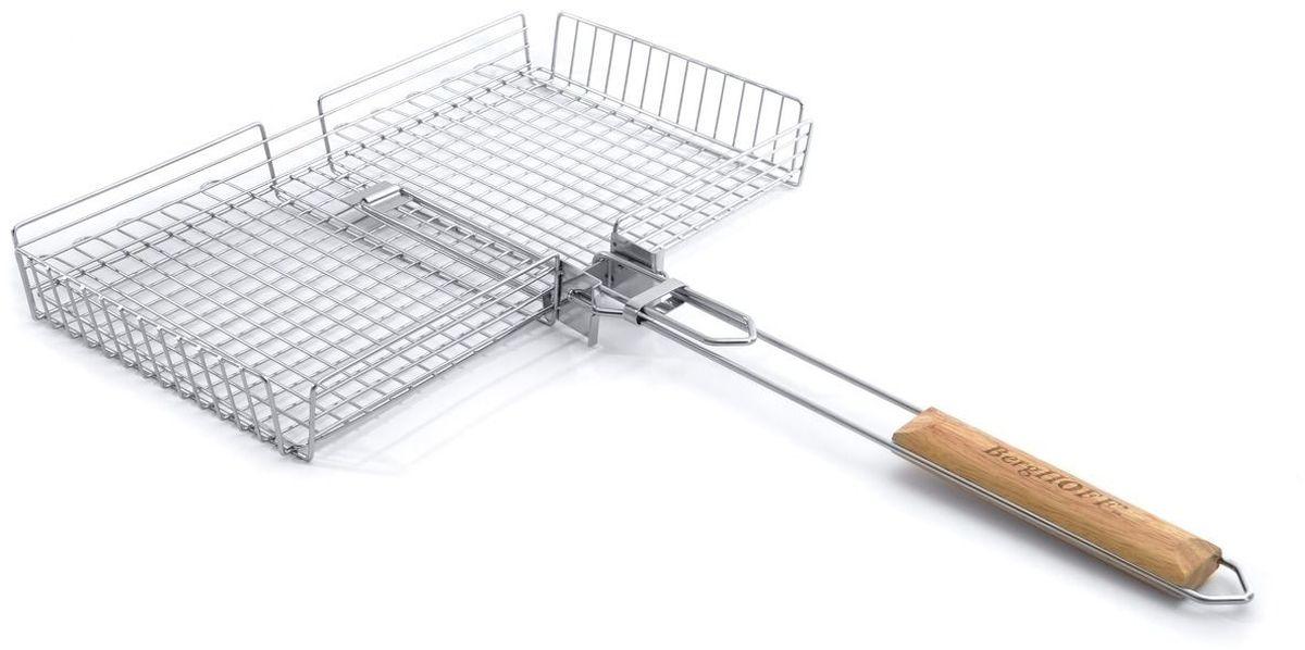 """Решетка-гриль """"BergHOFF"""" изготовлена из нержавеющей стали, имеет деревянные ручки для комфортной работы. Удобная защелка гарантирует надежность размещения продукта."""