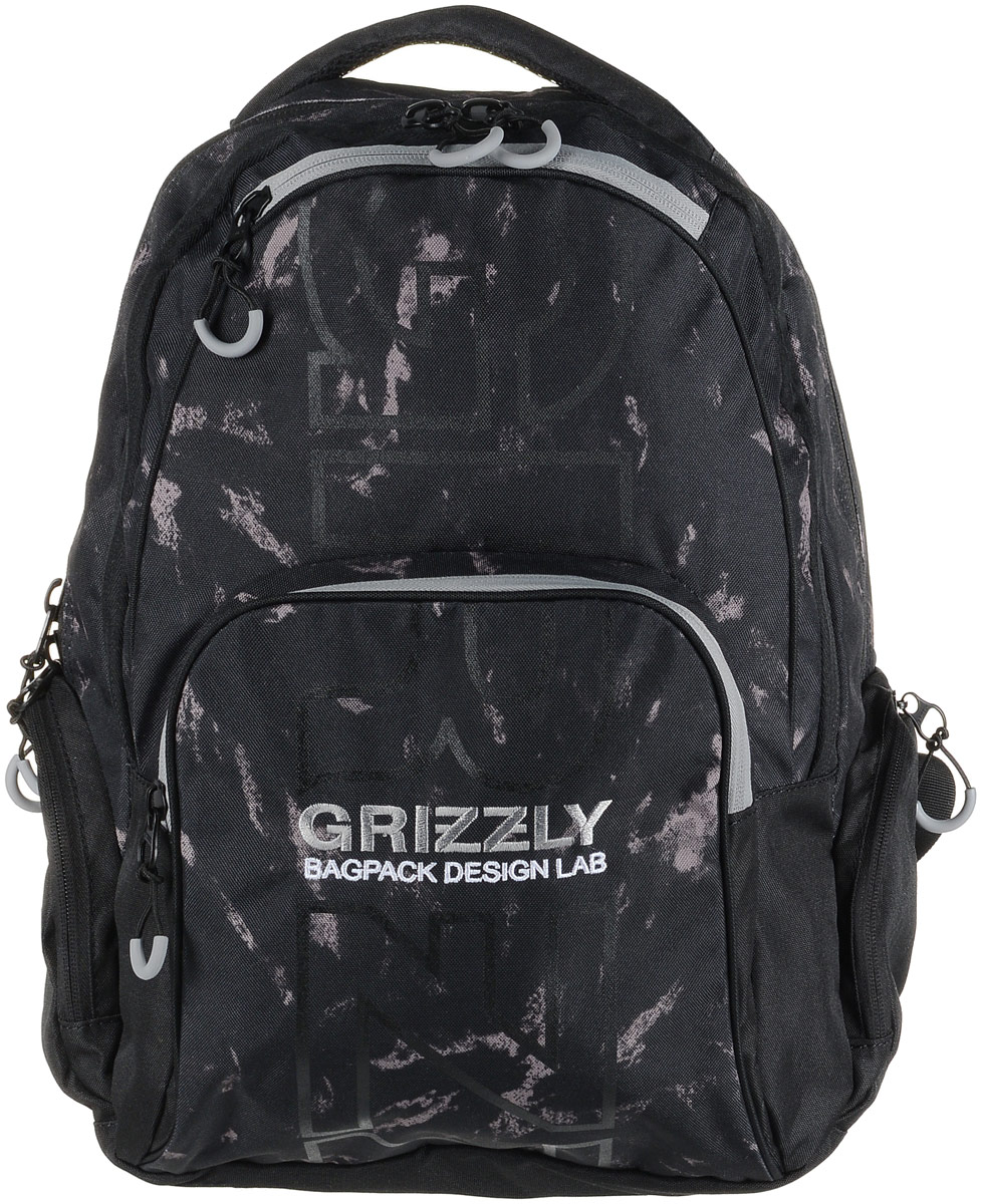 Рюкзак мужской Grizzly, цвет: черный, серый. RU-709-2/2RU-709-2/2Рюкзак Grizzly - это красивый и удобный рюкзак, который подойдет всем, кто хочет разнообразить свои будни. Рюкзак выполнен из плотного материала с оригинальным графическим принтом. Рюкзак содержит два вместительных отделения, каждое из которых закрывается на молнию. Внутри первого отделения имеется открытый накладной карман, на стенке которого расположился врезной карман на молнии. Второе отделение не содержит дополнительных карманов. Снаружи, по бокам изделия, расположены два кармана на застежках-молниях. Лицевая сторона дополнена двумя карманами на застежках-молниях. В нижнем кармане расположены четыре открытых накладных кармашка.Рюкзак оснащен мягкой укрепленной ручкой для переноски, петлей для подвешивания и двумя практичными лямками регулируемой длины.Практичный рюкзак станет незаменимым аксессуаром и вместит в себя все необходимое.