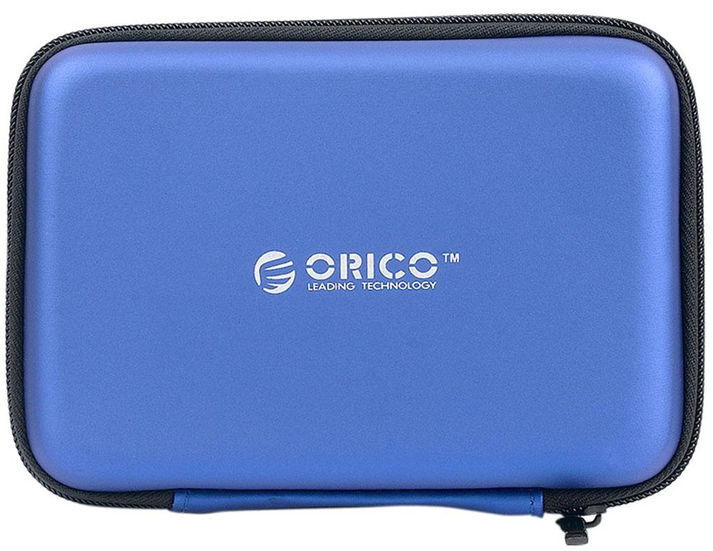 Orico PHB-25, Blue чехол для жесткого дискаORICO PHB-25-BLOrico PHB-25 подойдёт для хранения внешних жёстких дисков и аксессуаров. В чехле также хватит места для кабеля USB, флешек и карт памяти. Изготовлен из специального EVA-материала, который защищает содержимое чехла от водяных брызг, пыли и статического электричества, которое может повредить электронику. При этом материал чехла можно легко очистить от грязи.Благодаря качественной и удобной молнии, Orico PHB-25 без проблем выдержит много циклов открытия и закрытия и долго прослужит своему владельцу.