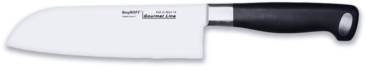 Нож сантоку BergHOFF Gourmet, длина лезвия 18 см1399485Нож BergHOFF Gourmet изготовлен из высококачественной хром-молибден-ванадиевой стали (Х50CrMovV15), устойчив к пятнам, коррозии. Он создан специально для нарезания рыбы, моллюсков и других морепродуктов тоненькими кусочками.
