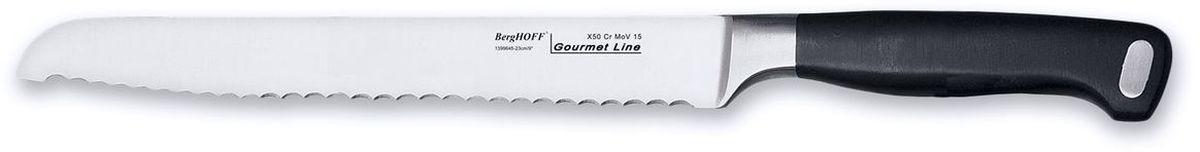 Нож для хлеба BergHOFF Gourmet, длина лезвия 23 см1399645Нож BergHOFF Gourmet изготовлен из высококачественной хром-молибден-ванадиевой стали (Х50CrMovV15), устойчив к пятнам, коррозии. Благодаря нескользящей рукоятке нож исключительно удобен в использовании, а выкованный вручную выступ ножа обеспечивает идеальное равновесие. Специальный упор для пальцев предотвращает соскальзывание руки на лезвие. Кромка лезвия имеет специальные зазубрины. Нож идеально режет хлеб и хлебобулочные изделия. Рекомендуется мыть вручную.