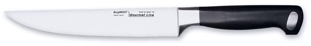 """Универсальный нож BergHOFF """"Gourmet"""" изготовлен из высококачественной хром-молибден-ванадиевой стали (Х50CrMovV15), устойчив к пятнам, коррозии. Эргономичная нескользящая ручка выполнена из пластика. Нож обладает бесшовной конструкцией и ручной заточкой, кованой шейкой для дополнительного веса, баланса и безопасности рук.  Это многофункциональный нож для резки небольших овощей и фруктов, колбасы, сыра, масла. Имеет неширокое лезвие. Один из самых нужных на кухне ножей. Таким ножом удобно сделать ровный разрез всего одним движением, а гибкое лезвие поможет нарезать продукты идеальными ломтиками. Универсальный нож BergHOFF """"Gourmet"""" предоставит вам все необходимые возможности в успешном приготовлении пищи и порадует вас своими результатами. Рекомендуется мыть вручную."""