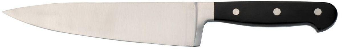 Нож поварской BergHOFF Cook&Co, длина лезвия 20 см2800379Поварской нож BergHOFF выполнен из высококачественной стали, устойчив к пятнам и коррозии. Тяжелая кованая шейка обеспечивает идеальный баланс и безопасность для рук. Наиболее часто используемый на кухне нож, подходит для многих целей. Таким ножом легко нарезать продукты качающимися движениями на разделочной доске, а широкое и толстое лезвие позволяет использовать такой нож в качестве секача.