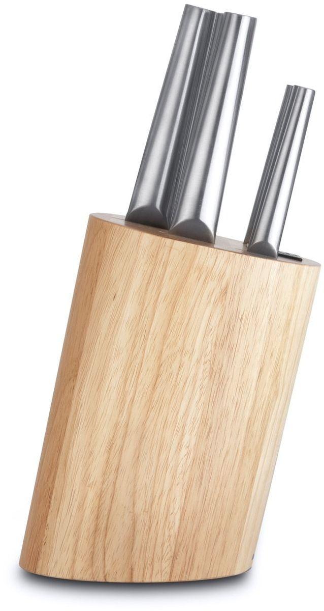 Отличительная черта ножей Eclipse, изогнутая ручка, делает эти ножи не только привлекательными, но также добавляет эргономичный аспект в их оригинально сбалансированную конструкцию.  Универсальный набор ножей для всех кулинарных задач.  Поварской нож - самый используемый на кухне. Загнутое кверху лезвие позволяет раскачивать нож во время нарезки на разделочной доске. Благодаря широкому и тяжелому лезвию также подходит для легких разрубочных работ.  С помощью ножа для мяса легко нарезать мясо тонкими ломтиками. Часто используется в комбинации с вилкой для мяса, с помощью которой можно удерживать кусок во время нарезания.  Нож для хлеба - большой нож с зубчатым лезвием. Используется для нарезания продуктов, твердых снаружи и мягких внутри, таких как хлеб и другая выпечка. Также может использоваться для нарезания томатов.  Универсальный нож идеален для всех нарезочных работ, требующих точности. Нож для очистки - маленький и легкий, с прямой режущей кромкой. Это по-настоящему универсальный нож, идеальный для очистки и других мелких работ. Часто используется для очистки фруктов и овощей, которые можно держать в руках.  Состав набора:  нож для очистки 8 см;  универсальный нож 12 см;  нож для хлеба 20 см;  нож для мяса 20 см;  поварской нож 20 см;  деревянная колода 22 x 15 x 16 см.