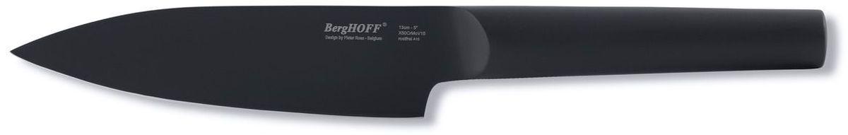 Нож поварской BergHOFF Ron, длина лезвия 13 см3900002Нож поварской BergHOFF Ron, изготовленный из высококачественной стали, самый используемый на кухне. Загнутое кверху лезвие позволяет раскачивать нож во время нарезки на разделочной доске.Благодаря широкому и тяжелому лезвию также подходит для легких разрубочных работ.