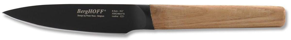 Нож для очистки BergHOFF Ron, длина лезвия 8,5 см3900018Нож для очистки BergHOFF Ron - черный стальной нож с титановым покрытием, предотвращающим налипание. Лезвие: хром-молибдено-ванадиевая сталь с двухслойным черным покрытием (титаниум+покрытие против налипания). Замечательно сбалансированные, с тяжелой рукояткой, эти ножи обеспечивают идеальный баланс для дополнительного контроля.Ручки выполнены контрастными из ясеневой древесины.