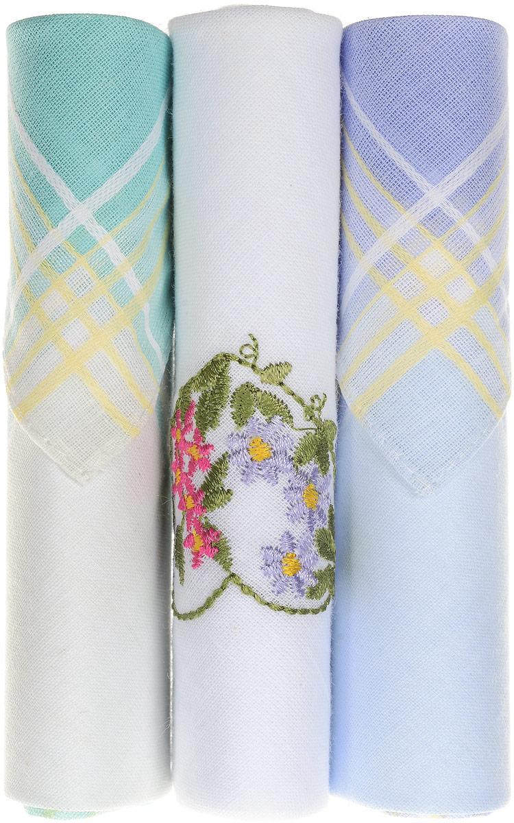 Платок носовой женский Zlata Korunka, цвет: бирюзовый, белый, голубой, 3 шт. 40423-76. Размер 28 см х 28 см